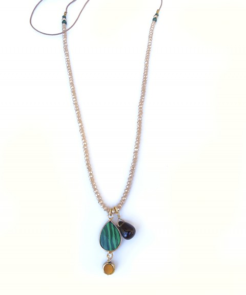 Beige crystal necklace with...